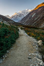 Path through a valley with sun illuminated mountains at dawn annapurna region in nepal Stock Image