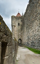 Path walls carcassonne fortress languedoc roussillon france Royalty Free Stock Image