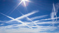 Paths in the sky contrails of aircraft Stock Images