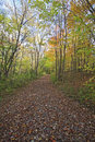 Pathway along sand lake in the fall Royalty Free Stock Photo