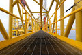 The pathway bridge of offshore oil rig worker is walking cross Royalty Free Stock Photos