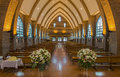Pathway of catholic church in thailand along the bench Stock Images