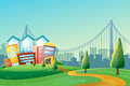 A pathway going to the colorful buildings in the city illustration of Stock Photography
