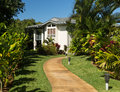 Pathway through landscaped ground at resort Royalty Free Stock Photo