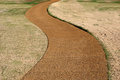 Pathway through lawn curved made from pebbles a landscaped Royalty Free Stock Photos