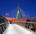 Pathway to boston zakim bridge and north bank bridge at night Royalty Free Stock Photography