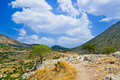 Pathway to mountains in Mycenae, Greece Royalty Free Stock Images
