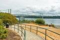 Pathway to the park in Narrows steel bridge area in Tacoma,Washington,USA.. Royalty Free Stock Photo