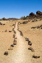 Pathway through volcanic land Stock Photos