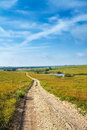 Pathways through the flint hills a gravel road going a grass prairie in of kansas Royalty Free Stock Photo