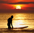 Patience sunset surfer silhouette of a with surfboard at Royalty Free Stock Images