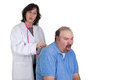 Patient coughing badly at examine while male caughing the check up female doctor giving surprized look perhaps he has something Stock Photos
