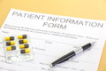 Patient form document close up of Royalty Free Stock Images