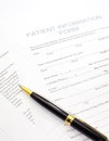 Patient form medical claim and medical history questionnaire Stock Photo