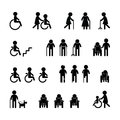 Patient icon set on black and white Royalty Free Stock Photo