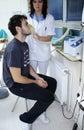 Patient inhale Stock Images