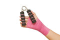 Patient 's hand with hand grip exercise Royalty Free Stock Photo