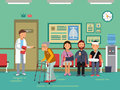 Patients and disabled peoples waiting doctor in clinical room. Vector medical illustration