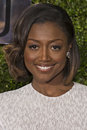 Patina miller arrives at the tony awards previous winner pippin wears a patterned lacey white dress by jason wu as she on red Royalty Free Stock Photography