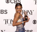 Patina miller multi talented broadway actress strikes a glamorous pose as she holds the antoinette perry statuette at the th Stock Images
