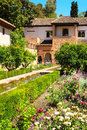 Patio in alhambra spain summer day Royalty Free Stock Images