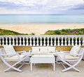 Patio with beach view Royalty Free Stock Image