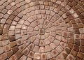 Patio bricks arranged in circular pattern Royalty Free Stock Image