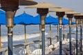 Patio cafe on the pier Stock Photos