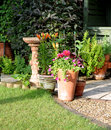 Patio garden area with Birdbath Stock Images