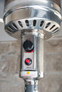 Patio heater close up gas switch on off Stock Images