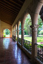 Patio in a monastery an old corridor at south florida Royalty Free Stock Images