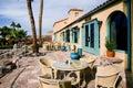 Patio seating death valley resort outdoor on the veranda at california Stock Photos