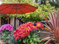 Patio seating in the sonoma valley winery invites you to sit and relax Royalty Free Stock Image