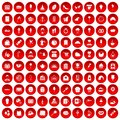 100 patisserie icons set red