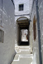 Patmos alley a view of a white at in greece Stock Photography