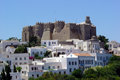 Patmos castle the old st john monastery at in greece Royalty Free Stock Photos