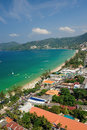 Patong tropical beach from aerial view phuket thailand Royalty Free Stock Image