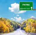 PATRA road sign against clear blue sky Royalty Free Stock Photo