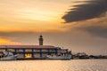 PATRAS, GREECE - FEBRUARY 16, 2016: Lighthouse harbor Royalty Free Stock Photo
