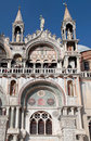 The patriarchal cathedral basilica of saint mark at the piazza s venice italy february tourists on balcony san marco st Royalty Free Stock Photography
