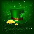 Patrick day hat with clover and leprechauns gold on green background illustration Royalty Free Stock Images
