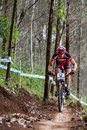 Patrick gallati pietermaritzburg south africa march through rapid rocks while practicing during round of uci mountain bike world Stock Photo