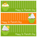 Patrick s day cupcake horizontal banners a collection of three wishing a happy st patricks or saint with sweet cupcakes eps file Stock Images