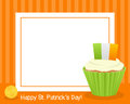 Patrick s day cupcake horizontal frame st patricks or saint photo with a sweet on orange background eps file available Royalty Free Stock Image