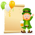 Patrick s day parchment with leprechaun st patricks or saint invitation card a holding a glass of beer and an old scroll eps file Royalty Free Stock Photography