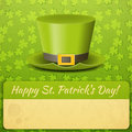 Patricks day card green hat on clover background place for text illustration Royalty Free Stock Photography