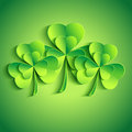 Patricks day card with stylized leaf clover d trendy background three green modern bright floral Stock Image
