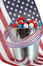 Patriot candy with american flag color for july th Stock Images