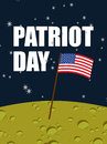 Patriot day. American flag on moon surface. Flag USA on yellow p Royalty Free Stock Photo