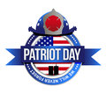 Patriot day seal fire fighters illustration design over white Royalty Free Stock Photo